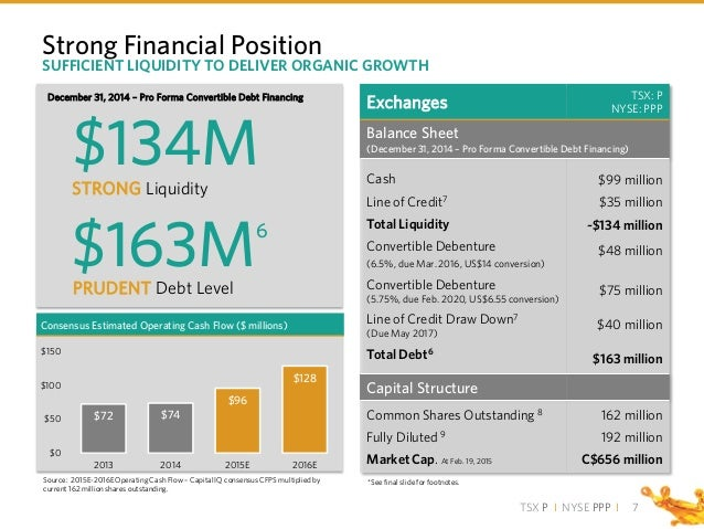TSX P I NYSE PPP I Strong Financial Position Exchanges TSX: P NYSE: PPP Balance Sheet (December 31, 2014 – Pro Forma Conve...