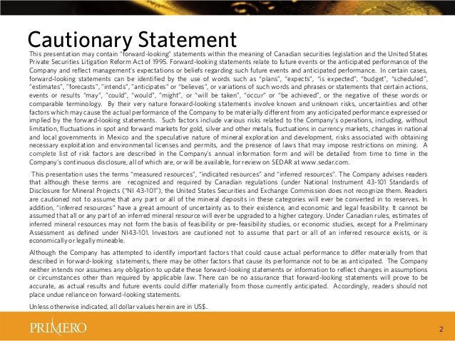 """Cautionary Statement  This presentation may contain """"forward-looking"""" statements within the meaning of Canadian securities..."""