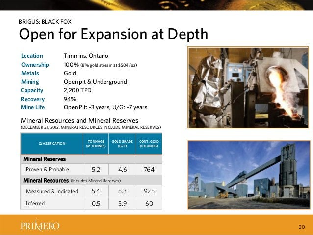 BRIGUS: BLACK FOX  Open for Expansion at Depth Location Ownership Metals Mining Capacity Recovery Mine Life  Timmins, Onta...