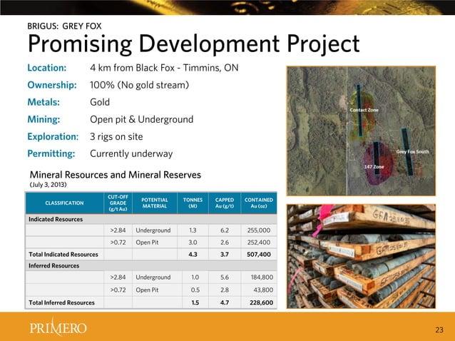 BRIGUS: GREY FOX  Promising Development Project CERRO Location: DEL GALLO INCREASES Timmins, ON 4 km from Black Fox - PRIM...