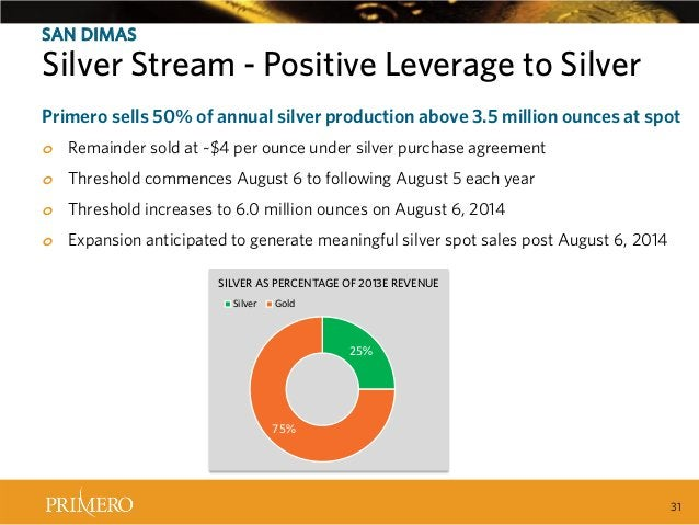 SAN DIMAS  Silver Stream - Positive Leverage to Silver Recent Tax Ruling Created Positive Leverage to Silver Primero sells...