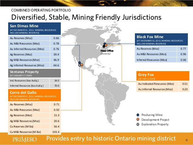 COMBINED OPERATING PORTFOLIO  Diversified, Stable, Mining Friendly Jurisdictions  Builds on Mine San Dimas Established Pre...