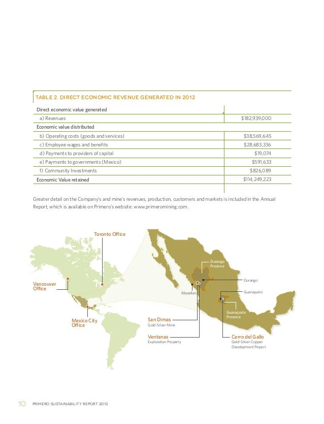 Primero sustainability report 201210Greater detail on the Company's and mine's revenues, production, customers and markets...