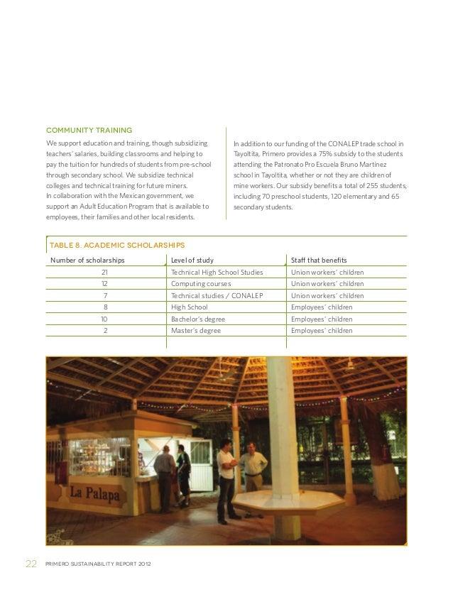 Primero sustainability report 201222COMMUNITY TRAININGWe support education and training, though subsidizingteachers' salar...