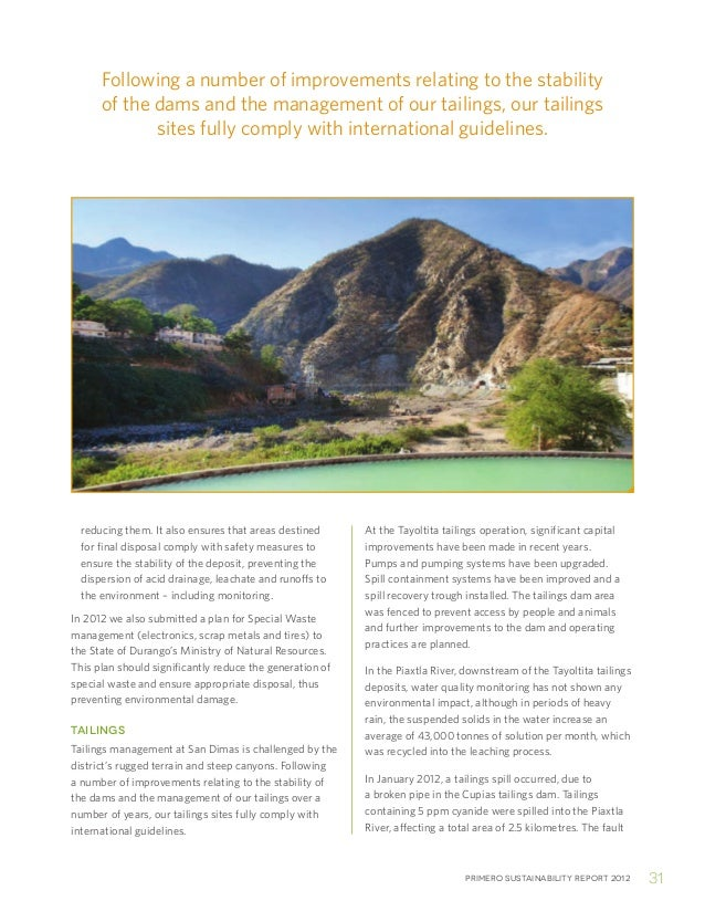Primero sustainability report 2012 31reducing them. It also ensures that areas destinedfor final disposal comply with safe...
