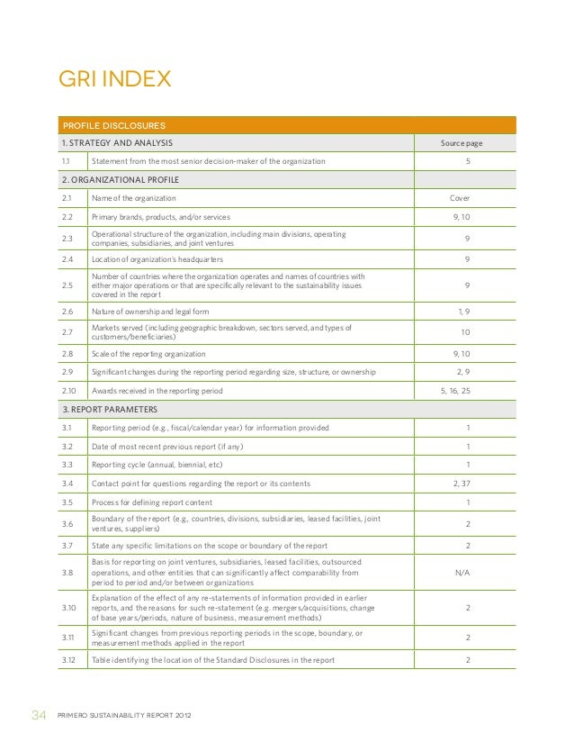 Primero sustainability report 201234gri indexPROFILE DISCLOSURES1. STRATEGY AND ANALYSIS Source page1.1 Statement from the...