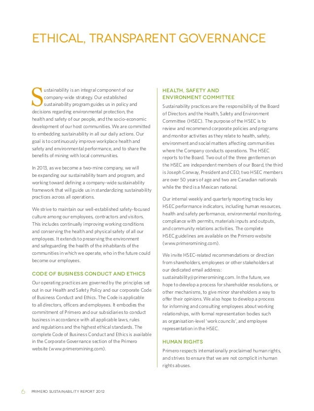 Primero sustainability report 20126Sustainability is an integral component of ourcompany-wide strategy. Our establishedsus...