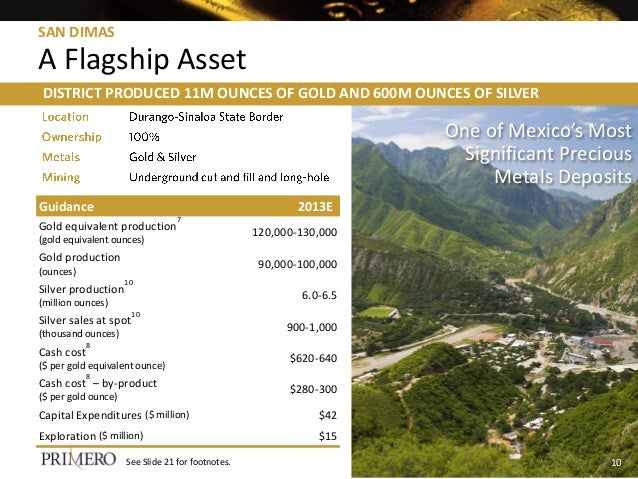 SAN DIMAS A Flagship Asset DISTRICT PRODUCED 11M OUNCES OF GOLD AND 600M OUNCES OF SILVER One of Mexico's Most Significant...