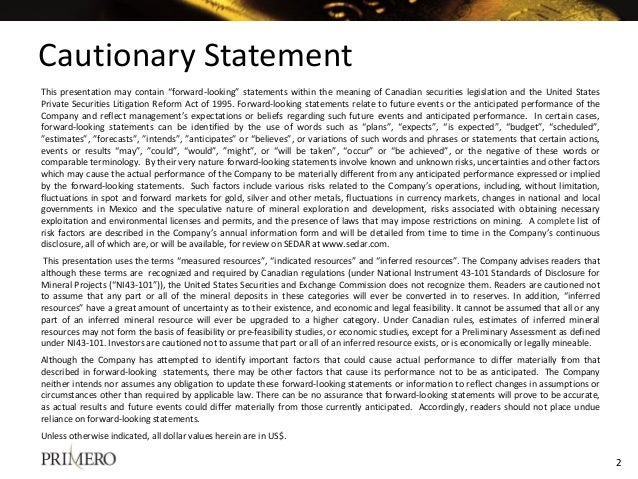 """This presentation may contain """"forward-looking"""" statements within the meaning of Canadian securities legislation and the U..."""