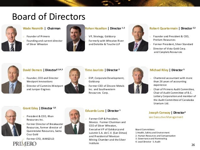 Board of Directors Board Committees: 1.Health, Safety and Environment 2. Human Resources and Compensation 3. Governance an...