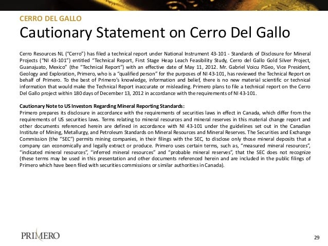 """Cerro Resources NL (""""Cerro"""") has filed a technical report under National Instrument 43-101 - Standards of Disclosure for M..."""
