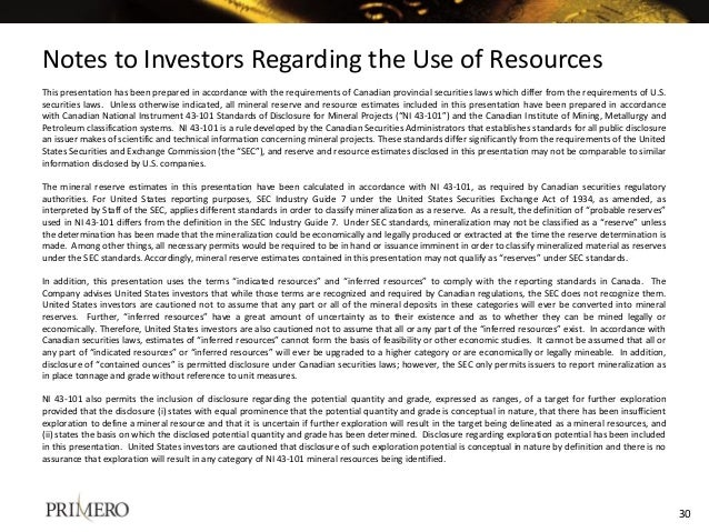 Notes to Investors Regarding the Use of Resources This presentation has been prepared in accordance with the requirements ...
