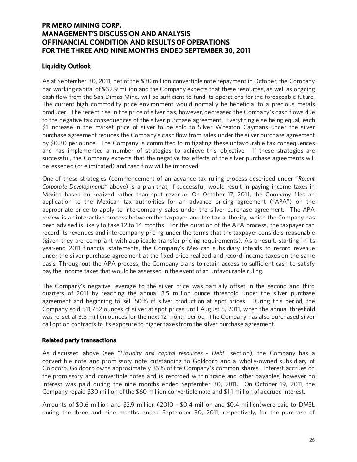 PRIMERO MINING CORP.MANAGEMENT'S DISCUSSION AND ANALYSISOF FINANCIAL CONDITION AND RESULTS OF OPERATIONSFOR THE THREE AND ...