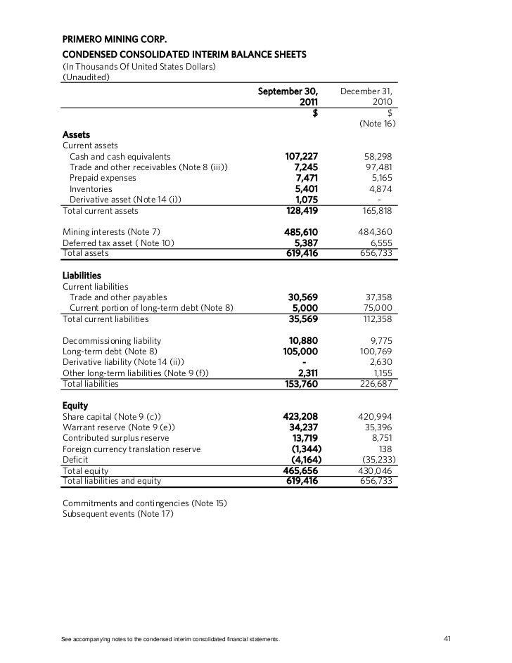 Primero mining interim q3 2011 report