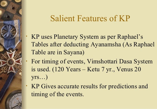 Salient Features of KP • KP uses Planetary System as per Raphael's Tables after deducting Ayanamsha (As Raphael Table are ...