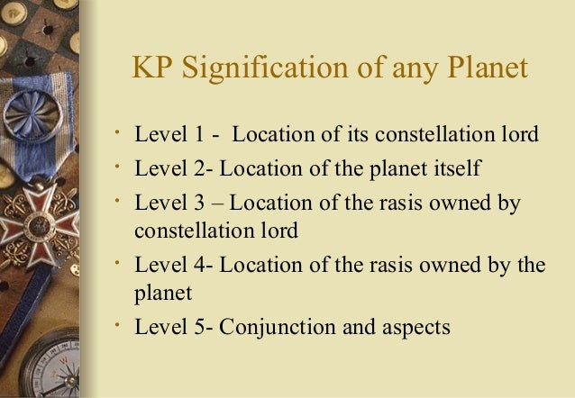 KP Signification of any Planet • Level 1 - Location of its constellation lord • Level 2- Location of the planet itself • L...