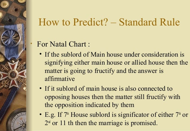 How to Predict? – Standard Rule • For Natal Chart : • If the sublord of Main house under consideration is signifying eithe...