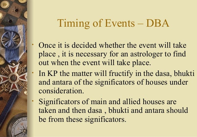 Timing of Events – DBA • Once it is decided whether the event will take place , it is necessary for an astrologer to find ...