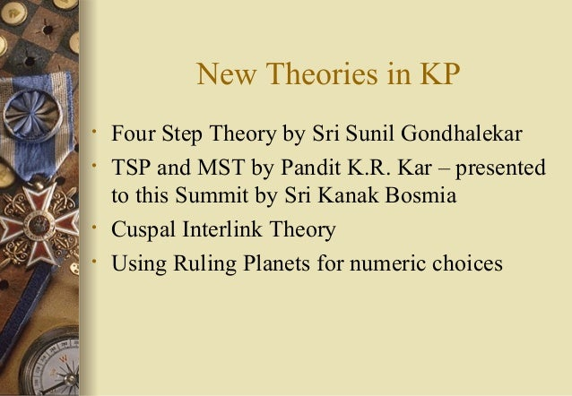 New Theories in KP • Four Step Theory by Sri Sunil Gondhalekar • TSP and MST by Pandit K.R. Kar – presented to this Summit...