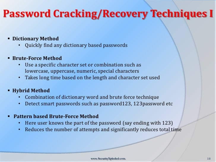 Word recovery password