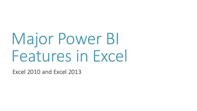 Major Power BI Features in Excel Excel 2010 and Excel 2013