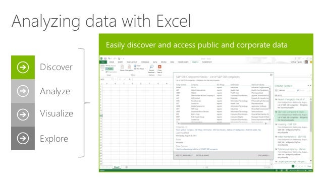 Discover Analyze Visualize Explore Analyzing data with Excel