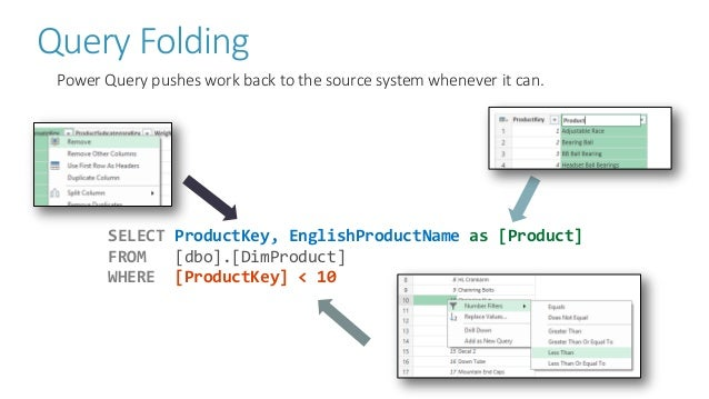 Query Folding Power Query pushes work back to the source system whenever it can. SELECT ProductKey, EnglishProductName as ...
