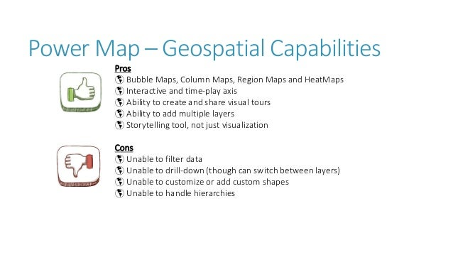 2 2 Power Map – Geospatial Capabilities Pros  Bubble Maps, Column Maps, Region Maps and HeatMaps  Interactive and time-p...