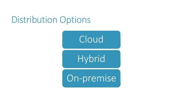Distribution Options Cloud Hybrid On-premise