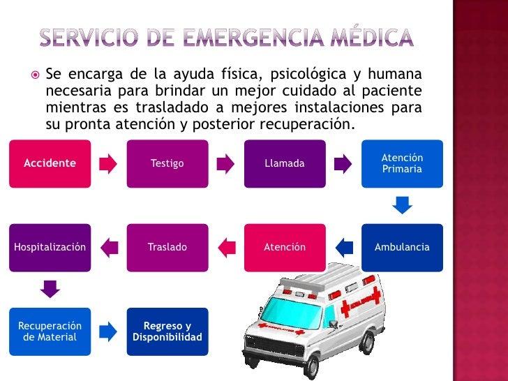 Servicio de emergencia médica<br />Se encarga de la ayuda física, psicológica y humana necesaria para brindar un mejor cui...