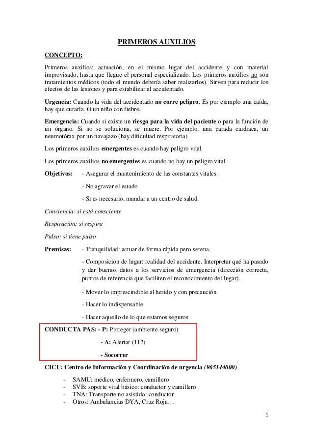 PRIMEROS AUXILIOSCONCEPTO:Primeros auxilios: actuación, en el mismo lugar del accidente y con materialimprovisado, hasta q...