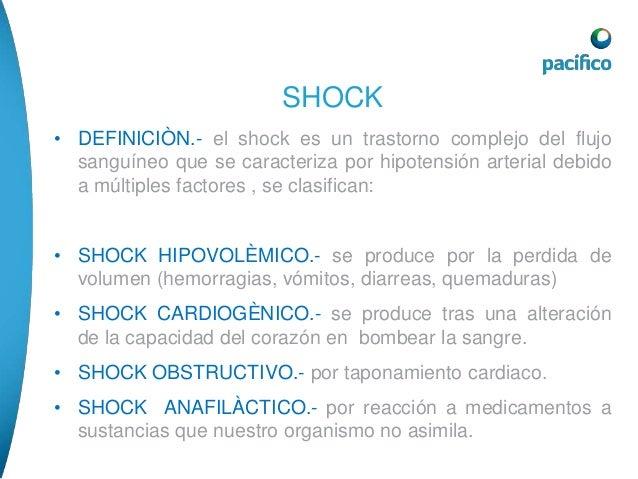 • TRATAMIENTO.-  SHOCK  1.poner al paciente en posición de trendelemburg  2.monitorizacion del ritmo y la frecuencia cardi...