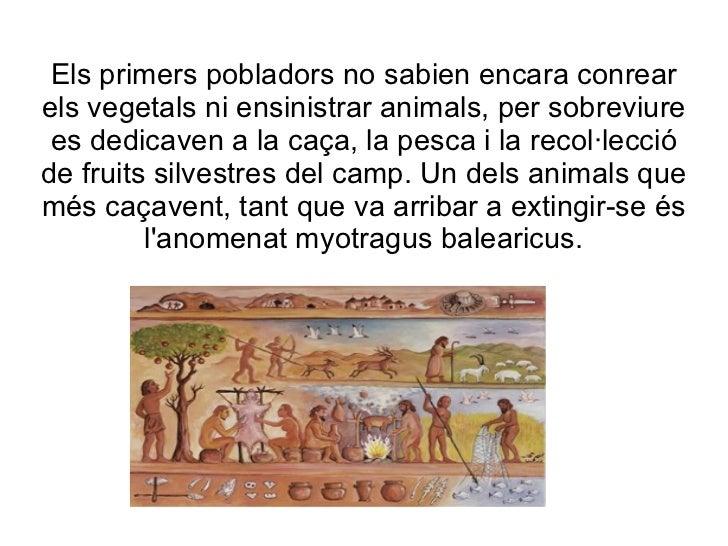 Els primers pobladors no sabien encara conrear els vegetals ni ensinistrar animals, per sobreviure es dedicaven a la caça,...