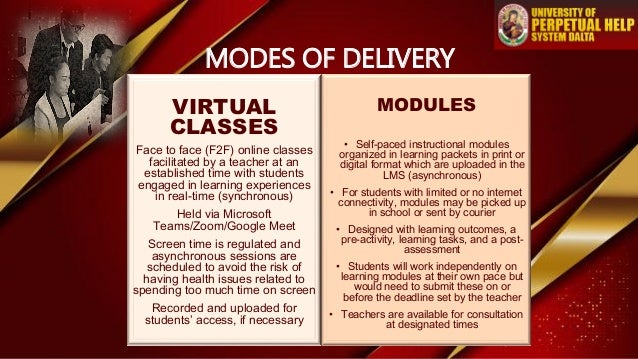 VIRTUAL CLASSES Face to face (F2F) online classes facilitated by a teacher at an established time with students engaged in...