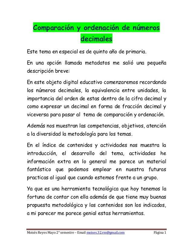 Comparación y ordenación de números                                decimalesEste tema en especial es de quinto año de prim...