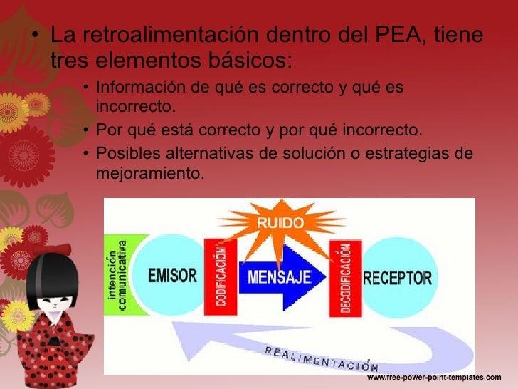 <ul><li>La retroalimentación dentro del PEA, tiene tres elementos básicos: </li></ul><ul><ul><ul><li>Información de qué es...