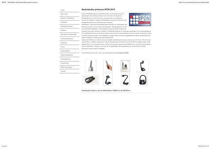 Nederlandse primeurs IPON 2010 Op de AVerMedia stand op de IPON vindt u de nieuwste trends en oplossingen die rekening hou...