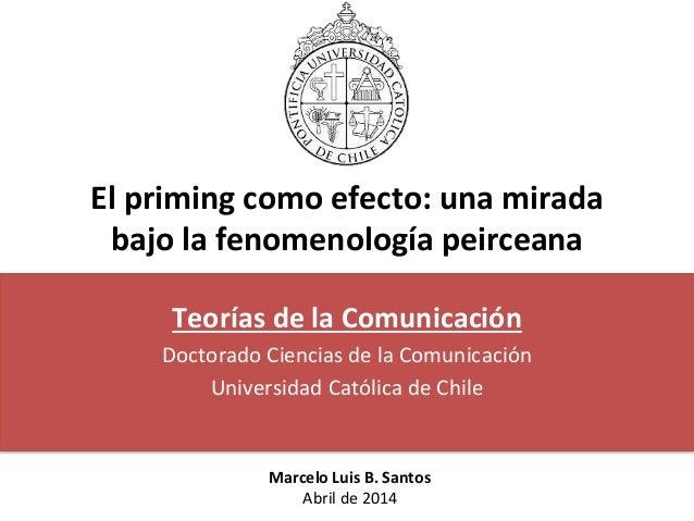El priming como efecto: una mirada bajo la fenomenología peirceana Teorías de la Comunicación Doctorado Ciencias de la Com...