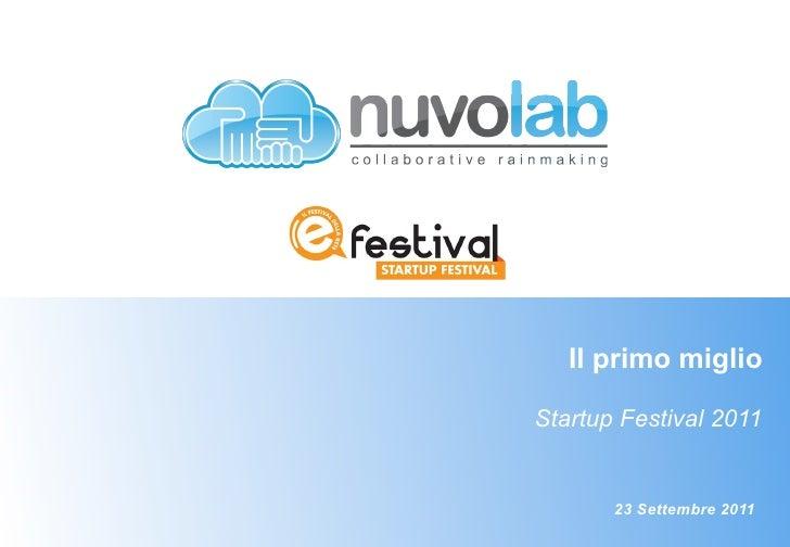 CH STARTUP19                Il primo miglio             Startup Festival 2011                    23 Settembre 2011