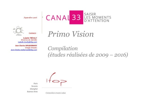 Primo Vision Compilation (études réalisées de 2009 – 2016) Septembre 2016 Contacts : Isabelle TRÉVILLY Directrice de clien...