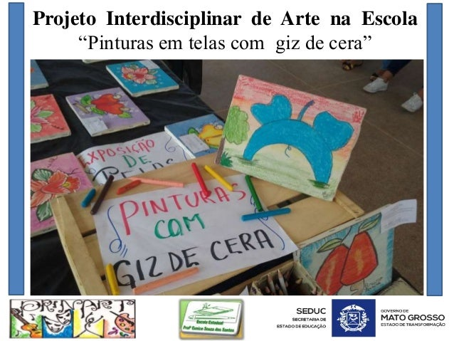 """Projeto Interdisciplinar de Arte na Escola """"Pinturas em telas com giz de cera"""""""