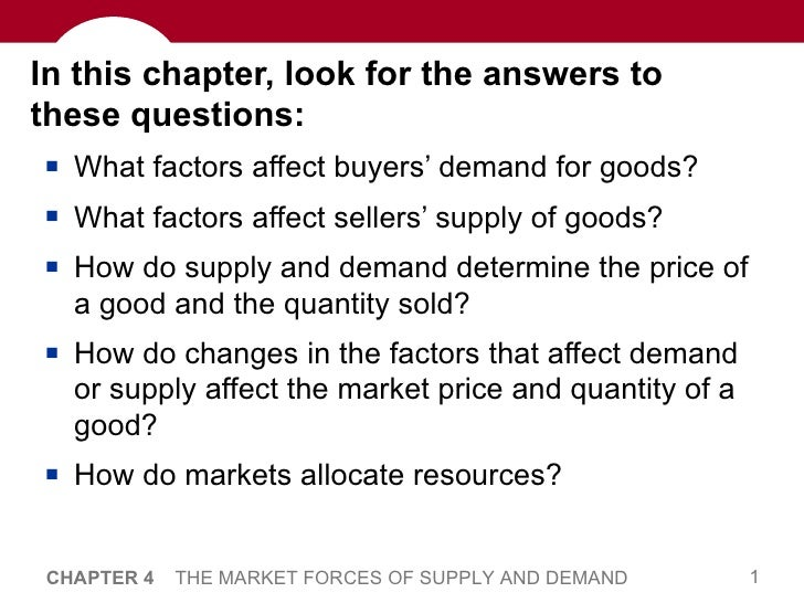 In this chapter, look for the answers to these questions: <ul><li>What factors affect buyers' demand for goods? </li></ul>...