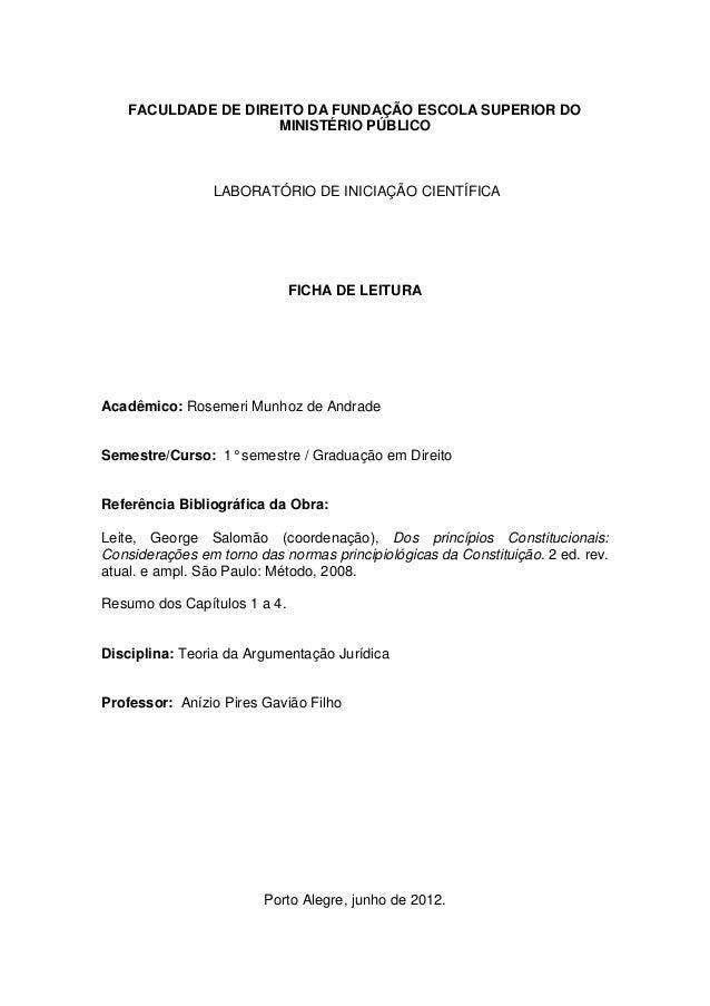 FACULDADE DE DIREITO DA FUNDAÇÃO ESCOLA SUPERIOR DO MINISTÉRIO PÚBLICO  LABORATÓRIO DE INICIAÇÃO CIENTÍFICA  FICHA DE LEIT...
