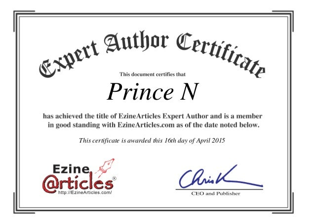 Prince N This certificate is awarded this 16th day of April 2015