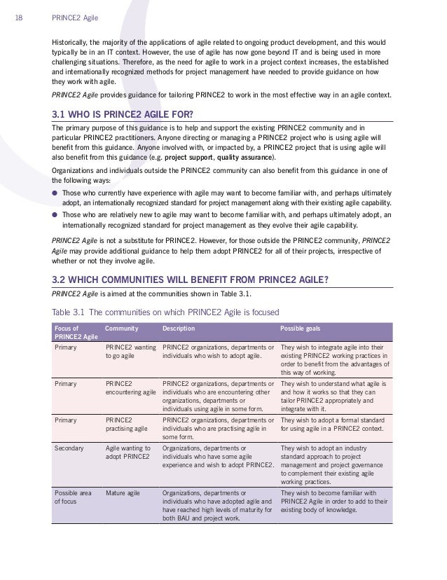 18 PRINCE2 Agile Historically, the majority of the applications of agile related to ongoing product development, and this ...