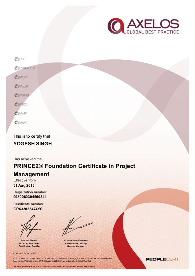 certificate foundation prince2 number slideshare upcoming