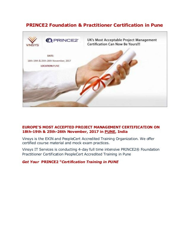 Prince2 Foundation Amp Practitioner Certification In Pune