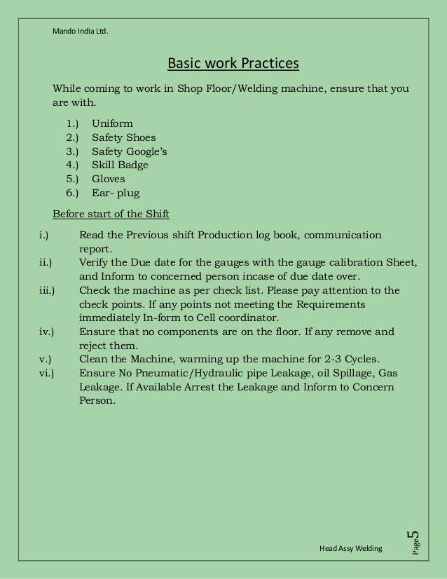 Welding Work Instruction In Hindi