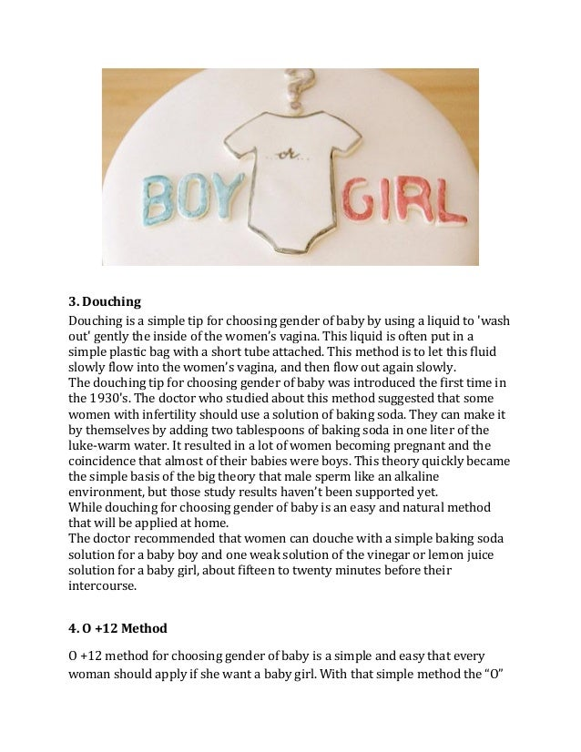 Tips for choosing gender of baby to get dream child - How often should women douche ...