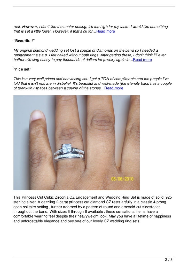 Princess Cut Cubic Zirconia CZ Wedding And Engagement Ring Set In Sterling  Silver Review